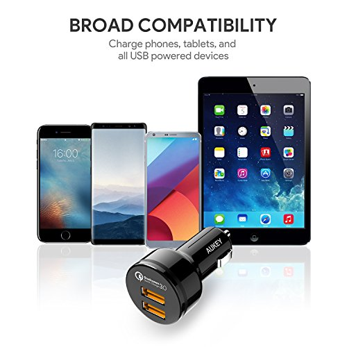 Fast Car Charger, AUKEY 36W Dual Port Quick Charge 3.0 USB Cell Phone Car Adapter for iPhone 11 Pro Max, Samsung Note10+ / S10, Google Pixel 4 XL, iPad, AirPods Pro, and More