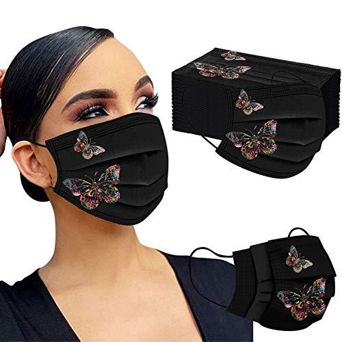 Mumustar 50 mascarillas desechables para adultos negra Serie de elementos de mariposa, agradable a la piel y cómodo Adecuado para salir, ir de fiesta (C)