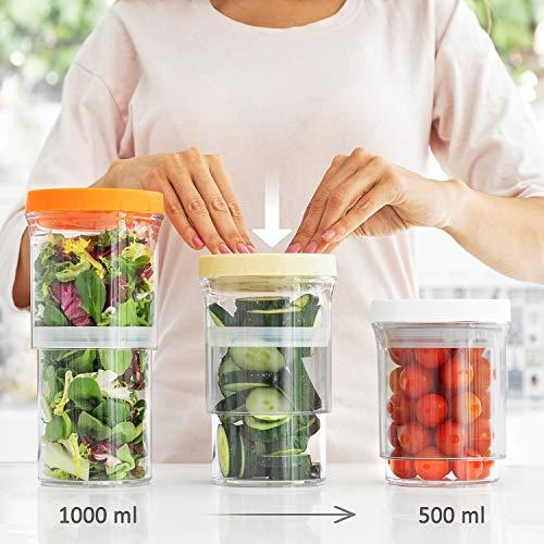 InnovaGoods Verstellbare und luftdichte Küchenbehälter (3er-Set), Durchmesser x Höhe ca.: 11 x 13-21 cm