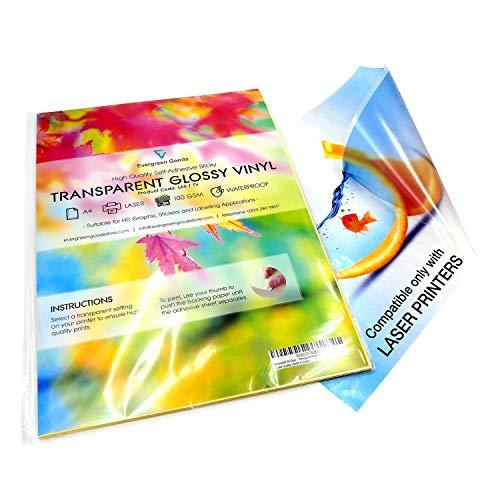 EVG - 10 Fogli di carta adesiva impermeabili, formato A4, in vinile auto-adesivo di alta qualità, stampabili a laser, colore: Trasparente