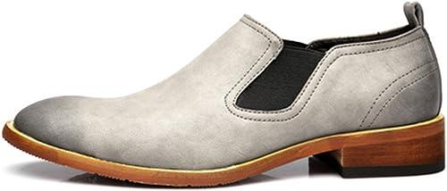 SCSY-Chaussures Oxford Chaussures à Enfiler décontractées pour Hommes Simples, Double Plaque Souple, Cuir véritable, Bas, Semelle extérieure, Oxfords (Couleur   gris, Taille   CN27)
