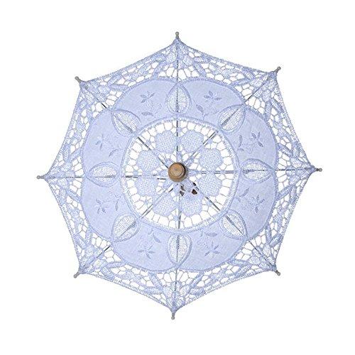 bpblgf H Bruiloft Paraplu Handgemaakte Katoenen Doek Kant Parasol Zomer Paraplu Voor Bruidsmeisje, B, 45 * 43