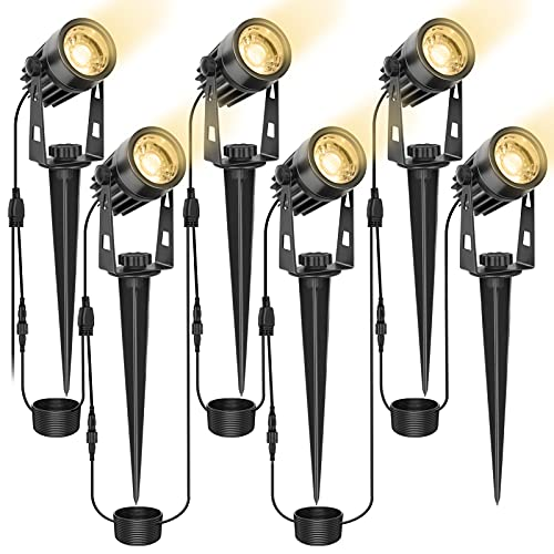 LITAKE Gartenbeleuchtung, 6 Stücke Extendable Gartenleuchte 3W COB LED Gartenstrahler mit Erdspieß und Stecker, IP65 Wasserdicht Warmweiß Gartenlampe Außenstrahler für Garten Rasen Baum Wiese