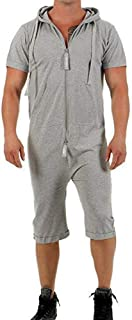 Mens Zip Jumpsuits Short Sleeve Rompers All in One Piece Hoodie Overalls