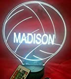 Volleyball Light Up Night Light Lamp LED Free Engraved Custom Name Personalized Volley Ball Table Lamp, with Remote, 16 Different Color Options, Dimmer, It's Wow, Great Gift