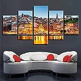 DBFHC Art Cuadros En Lienzo Golden Sunrise Downtown River Aglow Decoracion De Pared 5 Piezas Modernos Mural Fotos para Salon Dormitori Baño Comedor 150X100Cm