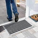 Nicoman Aluminium - Fußabstreifer für außen und innen   Fußmatte mit hoher Reinigungswirkung & attraktiver Metall Optik   Fußmatten für die Haustür