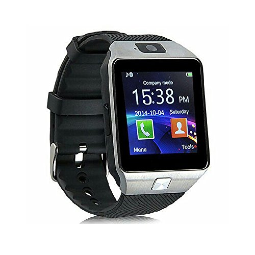 Smart Watch dz09 with Camera Bluetooth Wristwatch SIM Card Smartwatch for iOS Android Phones Support Multi Languages (Silver)