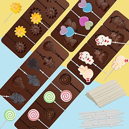 BUZIFU - Stampo in silicone per lecca-lecca, per cioccolatini, caramelle, gelatine, riutilizzabili,...