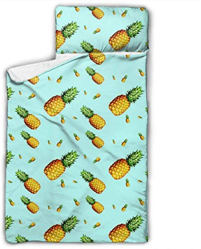 Pineapple Light Blue Kids Toddler Nap Mat with Pillow - Includes Pillow & Fleece Blanket for Boys and Girls Napping at Daycare, Preschool, Or Kindergarten