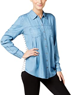 Style & Co. Petite Striped-Back Denim Shirt