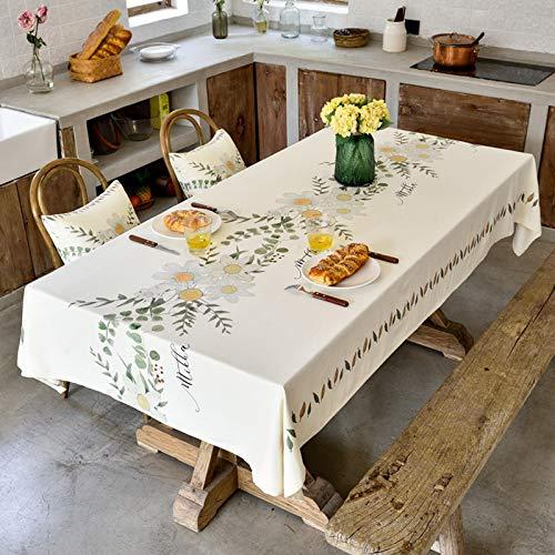 Mantel de lino de algodón resistente para mesas rectangulares, bordado sólido, para cocina, comedor, decoración de mesa, 130 x 190 cm