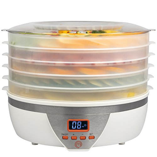 MasterChef Food Dehydrator w 5 Trays and Digital Temperature Controls- Dehydrating Machine includes FREE Recipe Guide- Overheating Protection + 8L Capacity- Dry Fruits, Vegetables Beef Jerky and More, Great Gift