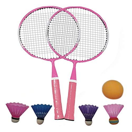 DOUBLE NICE Bádminton Bádminton Set Durable Lightweight Children Badminton Raqueta Raqueta Sports Shuttlecock Niños Juguete Juegos Outdoor Games Entretenimiento bádminton Pluma (Color : Pink)