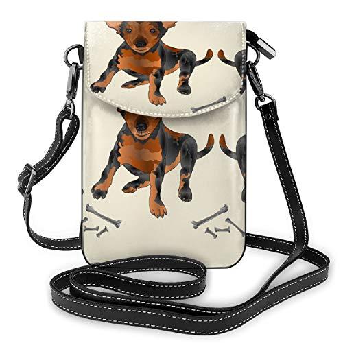 Kleine Chihuahua-Crossbody-Taschen für Mobiltelefone – Damen-Handtasche aus PU-Leder mit verstellbarem Riemen für den Alltag