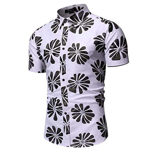 Camisa Estampada de Playa para Hombre Tendencia de la Moda callejera Camisa Ajustada de Manga Corta de Todo fósforo Camisa de Manga Corta de Verano para Vacaciones XL