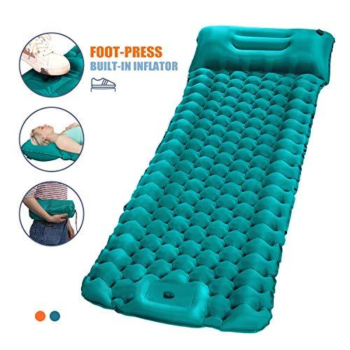 SGODDE Isomatte Camping Selbstaufblasbare, Fußpresse Aufblasbare,leichte Rucksackmatte für Wanderungen zum Wandern auf Reisen,langlebige wasserdichte Luftmatratze kompakte Wandermatte Blau