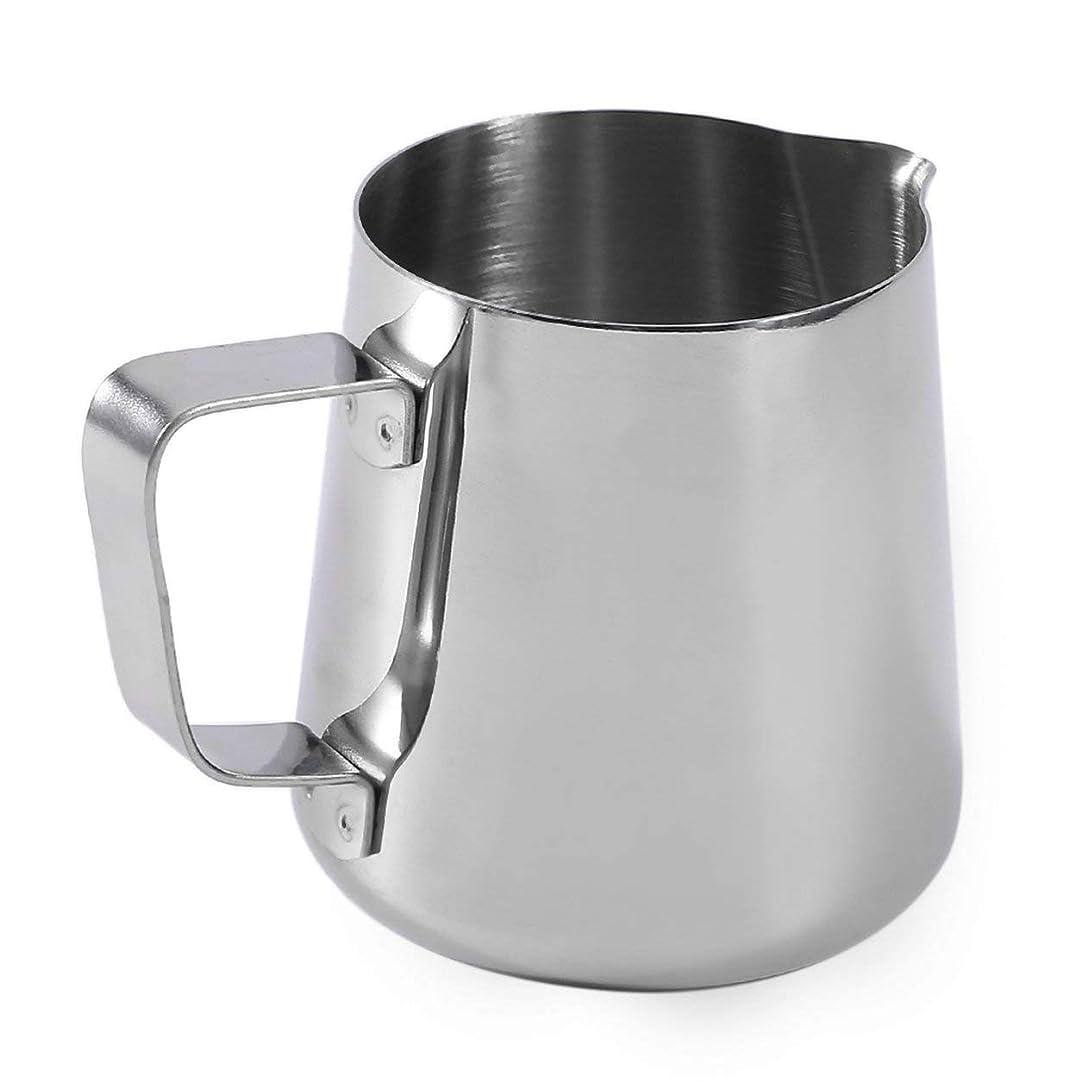 統計的混沌行商Saikogoods ステンレス鋼の起泡ピッチャースチームミルクラテホームキッチンアクセサリーのためのフラワーカップカプチーノクッキングツールを引いて 銀 350ML