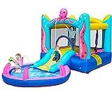 Casa inflável inflável castelo inflável para crianças com piscina de respingo de casa de salto de ventilador, espreguiçadeira de escorregador de água interna / externa para presente de festa infantil