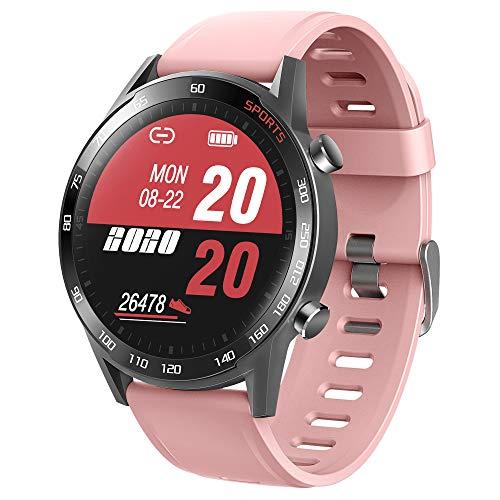 APCHY Reloj Inteligente Fitness Tracker con Monitor de sueño, frecuencia cardíaca y presión Arterial para Hombres y Mujeres,smartwatch Deportivo al Aire Libre Impermeable IP67,Rosado