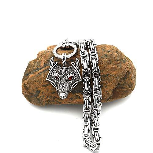 QTMHT Collar De Viking Cabeza del Lobo Colgante De Acero Inoxidable Emperador Cadena Lobo Joyería Popular del Regalo De Cumpleaños De Navidad para Hombres Y Mujeres,Red Eyes,70cm