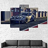 TOPRUN Cuadros Decoracion Salon Modernos 5 Piezas Lienzo Porsche 911 GT3 Cup 2021 HD Abstracta Pared...