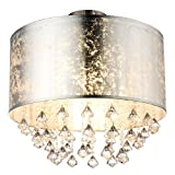 [page_title]-Decken Leuchte Beleuchtung Lampe Stoff Blattsilber Kristall Behang Globo 15188D3