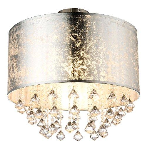 Decken Leuchte Wohn Ess Zimmer Textil Kristall Blatt-Silber Lampe Globo 15188D3S