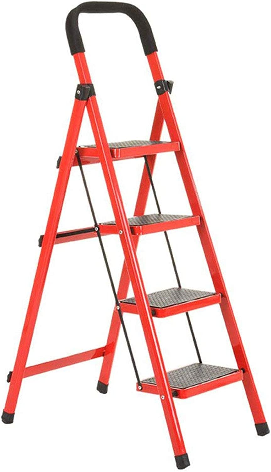 SHELFDQ 4-tier Non-slip 4 Step Ladder Household Chair Dual Use Indoor Four Steps Pedals Herringbone Folding Ladder Multifunction (color   RED)