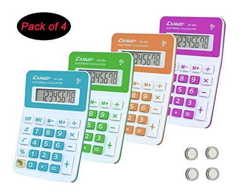 CANUO Basic Calculator 8 Digit Desktop Calculator Battery Power Only (Pack of 4)
