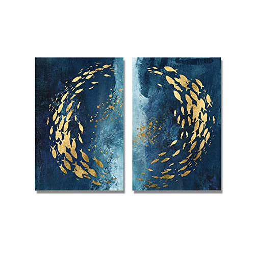 TYDH Abstract Gold Fish Poster Blue Ocean Waves Canvas Painting Print Luxus Wandkunst für Wohnzimmer Moderne Dekoration ohne Rahmen