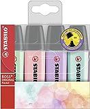 Textmarker - STABILO BOSS ORIGINAL Pastel - 4er Pack - Hauch von Minzgrün, rosiges Rouge, Schimmer...