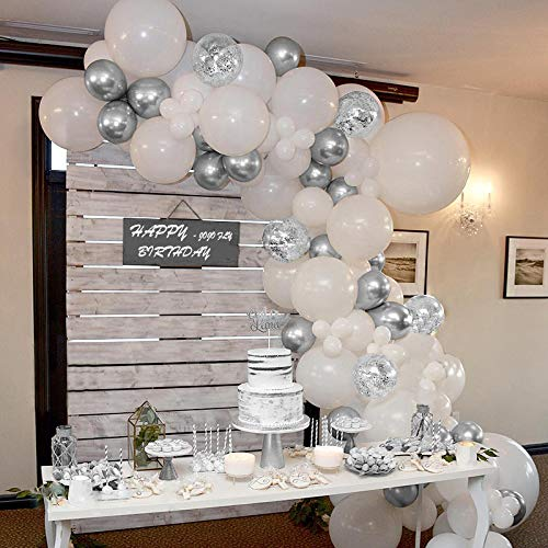70 Pcs Silver and White Balloons, Silver Confetti Balloons, White and Silver Metallic Chrome Latex Balloons for Birthday Party Decorations Baby Shower Wedding Graduation Balloon Garland Arch Kit