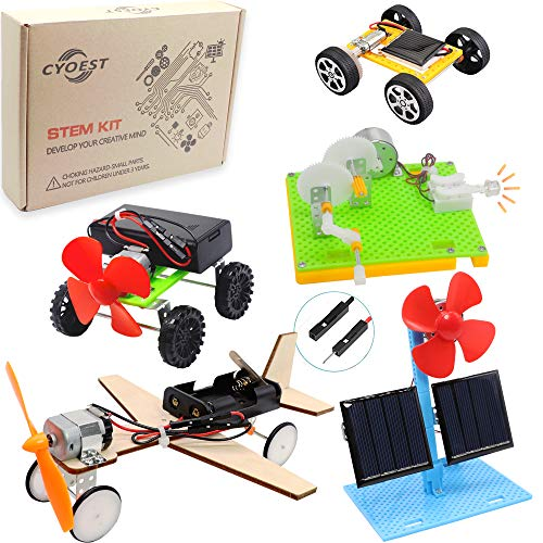 CYOEST DIY 5 Set STEM Lab&Science Kits Toys for Kids, Electric Motor Assembly Solar Powered Kit,...
