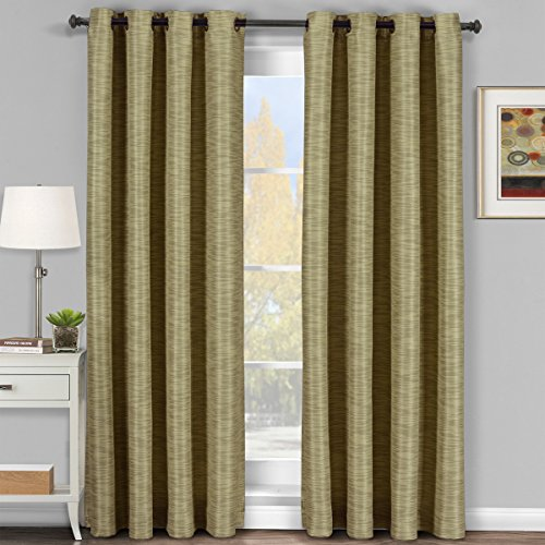 Pair of Two Top Grommet Blackout Thermal Insulated Curtain Panels,...