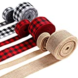 6 Rolls 45 Yards Christmas Wired Edge Ribbons Black Red Plaid Ribbon Black and White Buffalo Plaid Ribbon Natural Fabric Ribbon for DIY Wrapping, Fall Crafts Decoration, 2 Inch, 1 Inch