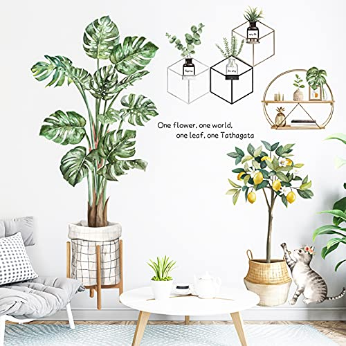 Green Leaf Tropical Plants Wall Stickers, HOLENGS Palm Tree Wall Decals, Lemon Tree Cat Wall Decor for Bedroom Living Room Classroom Office Home Decoration