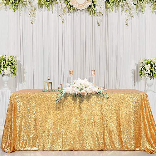 Sparkly Drape Tablecloth Gold Tablecloth Sequin Fabric Tablecloth for Ceremony Party Halloween 50x80 Inch