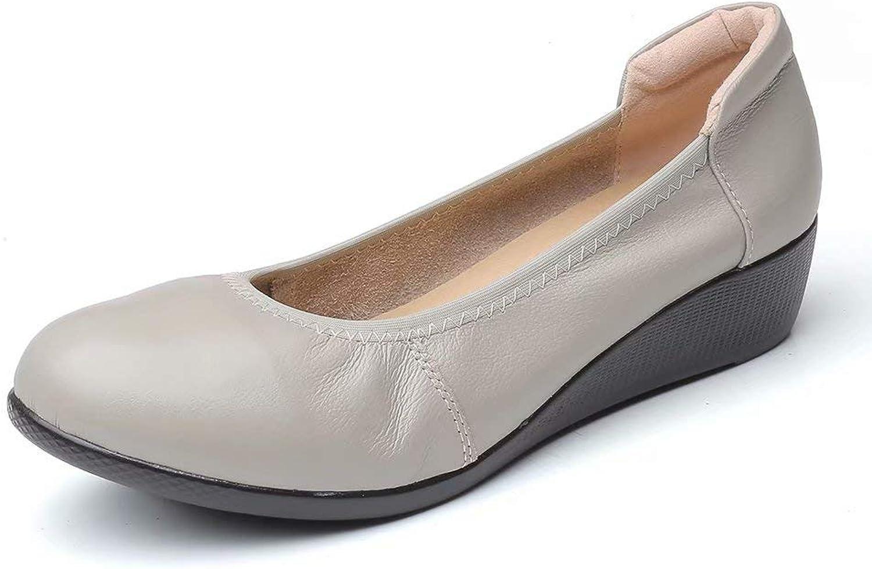 Sketo Women's Genuine Leather Comfort Low-Heeled Wedge Pump