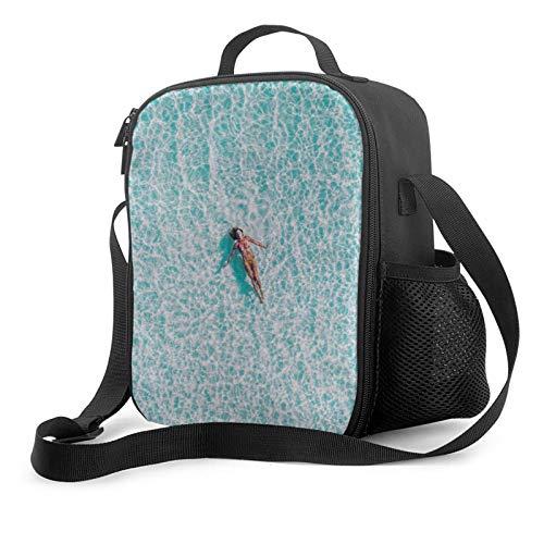 Bolsa de almuerzo reutilizable con aislamiento de océano transparente para mujeres y hombres, para el trabajo, viajes, barco, picnic, 10.5 x 8 x 4.5 pulgadas