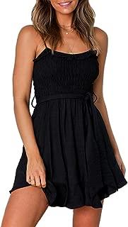 Women's Summer Spaghetti Strap Solid Color Ruffle Hem Tie Waist Backless Mini Dress