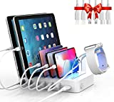 Soopii Quick Charge 3.0 60W/12A 6-Port USB Charging Station Organizer for Multiple Devices, 6 Short Mixed Cables Included, I Watch Holder, for Phones, Tablets, and Other Electronics,White