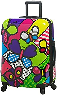 """Mia Toro Italy M Butterflies Hardside 24 Inch Spinner Luggage, BTF, Multi-Colored, 24"""""""
