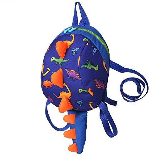 Coavas Kids Backpack with Leash 1-4 Y Cute Dinosaur Toddler Baby Safety Harness Backpack (Dark Blue)
