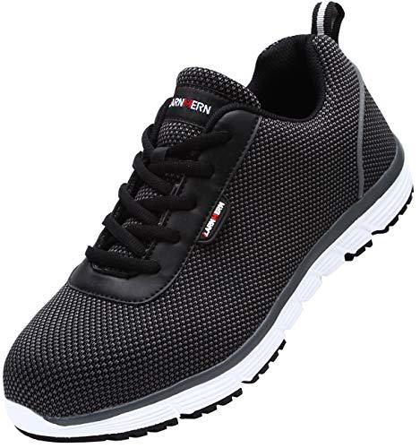 LARNMERN Sicherheitsschuhe Herren,LM1027 SBP Arbeitsschuhe,Schutzschuhe mit Stahlkappen Anti-Punktion Leicht Atmungsaktiv Schuhe(47 EU,S1 Schwarz Weiß)