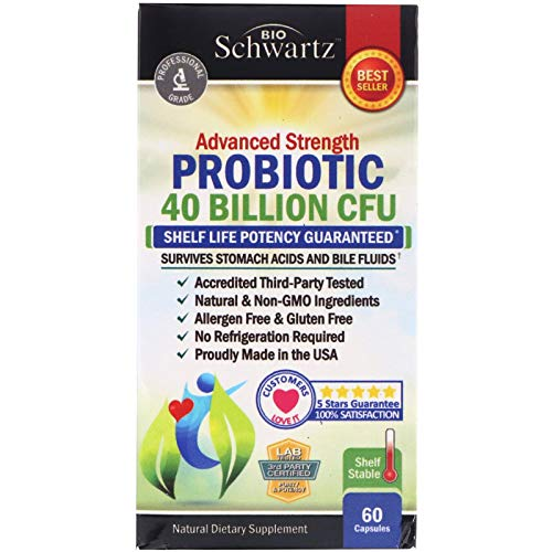 Probiotic 40 Billion CFU. Potency until Expiration - Patented Delay Release, Shelf Stable - Lactobacillus Acidophilus - Gluten Dairy Free for Women Men - No Refrigeration – Digestive Health