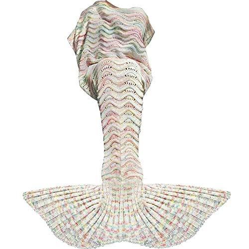 DDMY Mermaid Tail Blanket For Kids Teens Adult Handmade Wave Mermaid Blankets Crochet Knitting Blanket Seasons Warm Soft Living Room Sleeping Bag Best Birthday Christmas gift (C-white)