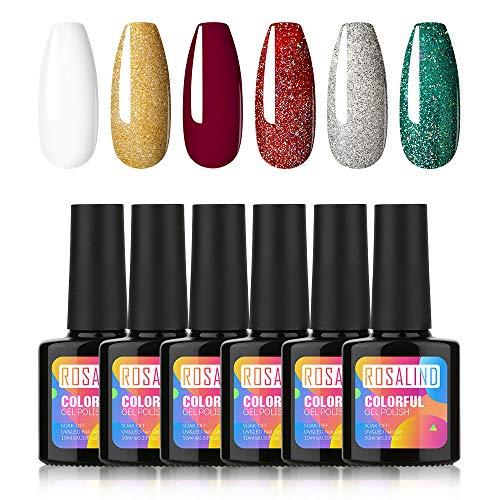 ROSALIND 6 Farben UV Gel Nagellack Candy Farben für Sommer Soak Off UV LED Geheilt Nude Pink Grün Blau Collection Set 10ml