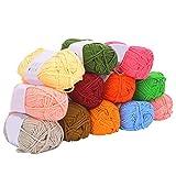 Hilo acrílico, 12 colores Hilo de algodón de leche Hilo de tejer de algodón...