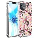 UZEUZA Funda transparente compatible con iPhone 12 Pro, color rosa Victoria Secret Palm Leaves Fit iPhone 12 Pro, color blanco transparente